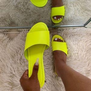 "Shoes - ""CeCE"" Slides - Neon Yellow"